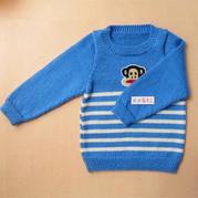 背心长袖两织的儿童棒针条纹毛衣编织视频教程(3-3)条纹毛衣袖子的织法