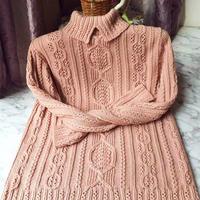 志田款女士棒针翻领羊毛衫