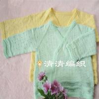 新生儿系带衣婴幼儿棒针和尚服编织视频教程(2-2)