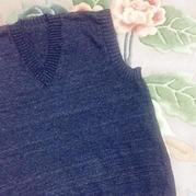 快乐编织机LK150男士V领羊绒背心
