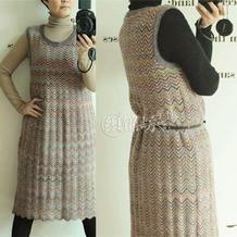 显瘦百搭水波纹花样女士棒针中长款背心裙