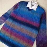 男士棒针假口袋V领段染羊毛衫