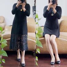 黑色魅影 蕾丝布拼接女士棒针长袖连衣裙