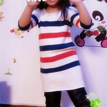 儿童棒针条纹七分袖春夏连衣裙