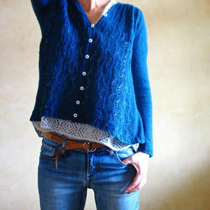 仿R网独特肩位设计的女士棒针春夏开衫毛衣