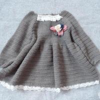 从领口往下编织儿童钩针小森女大摆裙
