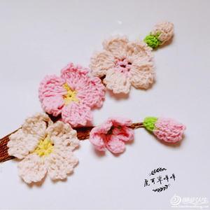 樱花正当季 毛线钩针樱花毛线画