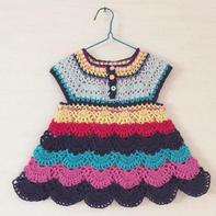 零线编织从上往下钩女童彩虹背心裙