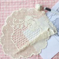 纯棉方眼蕾丝玫瑰图案钩针圆形桌垫