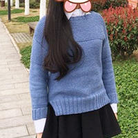 云暖仿ty晴天女士棒针极简短款毛衣