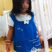 织法超简单的女童棒针海鸥绣花背心裙