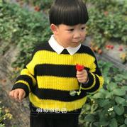 大黄蜂 男童春款棒针假元宝针圆领条纹毛衣