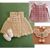 蕾絲飾領寶寶雙排扣鉤針馬甲背心裙編織視頻(4-3)蕾絲領鉤法