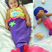彩色布组合拼缝美人鱼毯与玩偶 手工DIY宝宝用品
