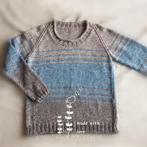 家用编织机织女士插肩袖拼色条纹毛衣 LK150机织作品