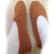实用棒针麻花居家室内毛线地板袜编织教程
