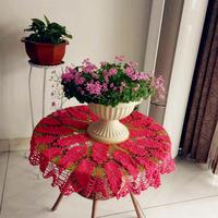红色钩针蕾丝圆形桌布