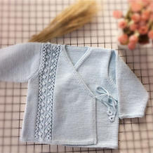 吉祥如意新生宝宝棒针斜襟毛衣