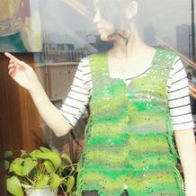 春风拂绿 松绿女士钩针流苏马甲开衫