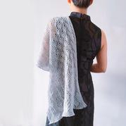女士棒针蕾丝镂空花羊绒长围巾
