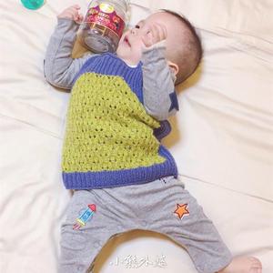婴幼儿棒针撞色蕾丝小背心
