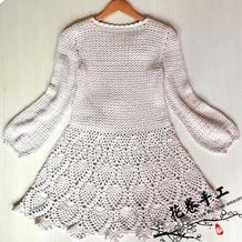 白玉兰 女士钩针灯笼袖菠萝连衣裙