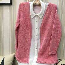 云素麻棉女士插肩开衫 快乐编织机LK150机织作品