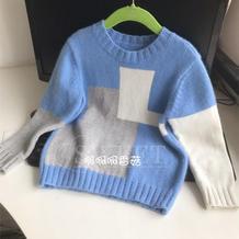 可织亲子款的男童棒针拼色几何图案羊毛衫