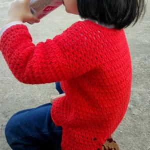 超简单的儿童休闲风前短后长钩针春秋衫