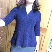 优雅女士棒针真丝羊绒V领毛衣
