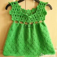 清新草木绿儿童钩织结合小裙
