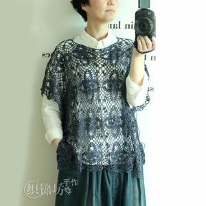 疏荷 女士亮片丝麻钩针蕾丝罩衫