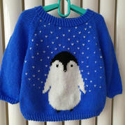 笨笨的小企鹅 萌可爱宝宝棒针卡通毛衣