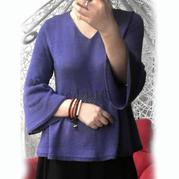 仿VS的尤怜 银笛SK280机织云帛Ⅱ女士水袖V领毛衣