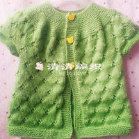 从领口开始织的儿童棒针镂空花小开衫(3-1)