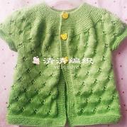 从领口开始织的儿童棒针镂空花小开衫(3-2)