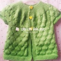 从领口开始织的儿童棒针镂空花小开衫(3-3)
