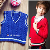 同款学院风男孩棒针背心及长袖毛衣编织视频(4-3)鸡心领或V领织法