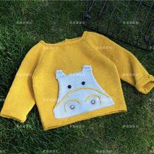婴幼儿握手服 中性款棒针宝宝卡通毛衣