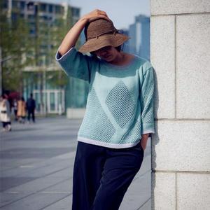 可以织母女装的萌芽Knit Ange惬意棒针镂空衫