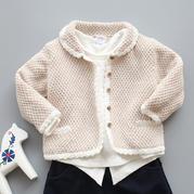 麦芽糖 云棉2钩织结合宝宝翻领开衫外套毛衣视频教程