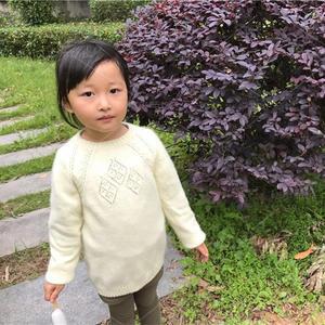 从上往下织儿童圆领套头毛衣