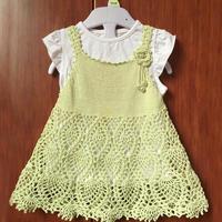 实用漂亮织法超简单的钩织结合儿童菠萝裙摆吊带裙衣