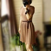 优雅复古风女士棒针及膝蓬蓬裙