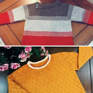 小彩虹与小黄人 2款男童棒针套头毛衣织法教程