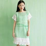 女士夏日钩针蕾丝套裙编织视频教程(3-3)