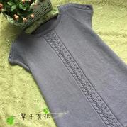 紫丁香女士棒针叶子花春秋长款短袖套衫