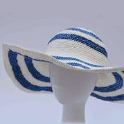夏季棉草帽 女士钩针宽檐太阳帽