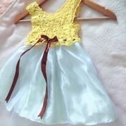 非常漂亮的儿童钩纱结合拼花公主裙