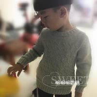 简单实用男童棒针圆领毛衣